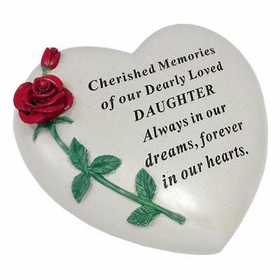 Large Daughter Red Rose Heart Stone Graveside Memorial Scroll Ornament DF17405I