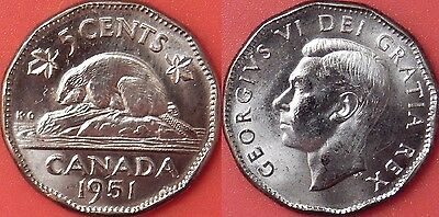 Brilliant Uncirculated 1951 Canada Low Relief 5 Cents
