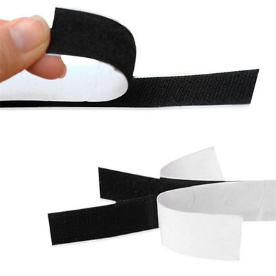 Black 1 Metre 2M 5M Self Adhesive Sticky Strip Backed Tape Hook and Loop 20mm
