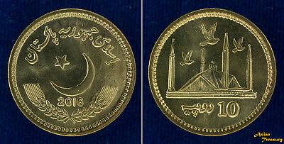 Pakistan 2016 New Type 10 Rupees Current Coin Unc Copper Bronze Mosque