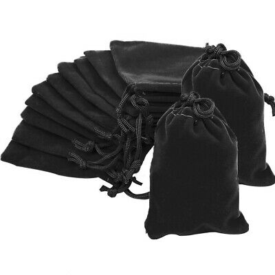 10 20 50 Black Luxury Velvet Jewellery Drawstring Wedding Pouches Gift Bags