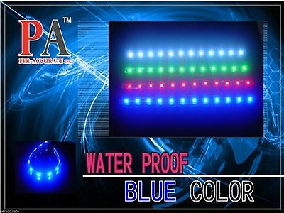 4x WATER PROOF 12 SMD 5050 LED 30CM Auto Car Light & Household Indoor Strip BLUE