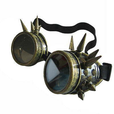 Retro Vintage Steampunk Goggles Glasses Round Sunglasses Windproof Mirror Punk