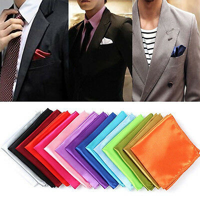 Men Satin Silk Pocket Square Hanky Hankerchief Wedding Formal Suit Jacket Party