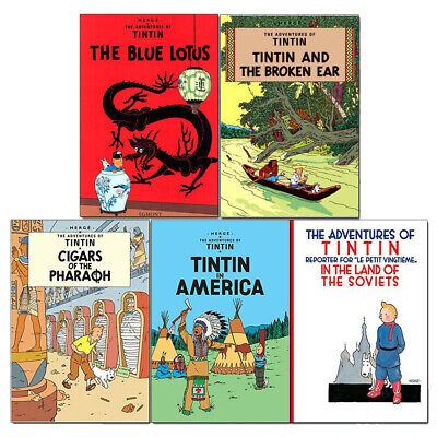 Adventures of Tintin Collection 5 Books Series 1 Set (The Blue Lotus,Broken Ear)