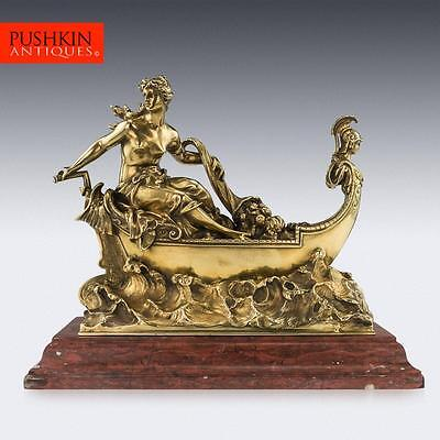 ANTIQUE 19thC FRENCH MONUMENTAL SOLID SILVER-GILT FIGURAL CENTREPIECE c.1860