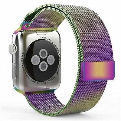 Magnetic Milanese Stainless Steel Watch Band Strap Rainbow Color for Apple Watch