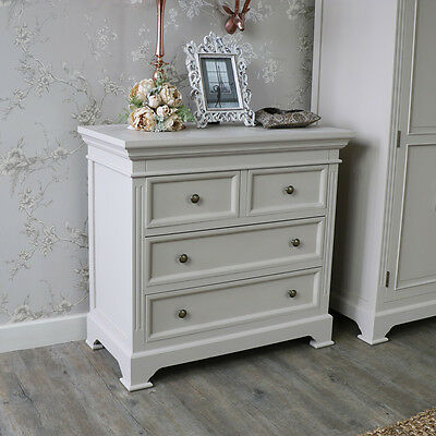 Grey Wooden 4 Drawer Chest Shabby Vintage Chic Bedroom Furniture Storage Home