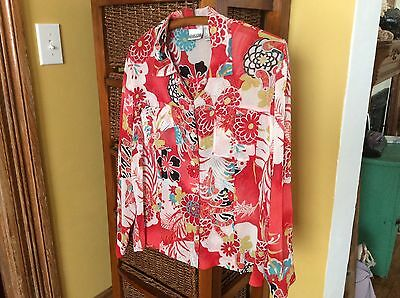 Chico's Sheer Floral Silk  Size 1 Long Sleeve Button-up Blouse