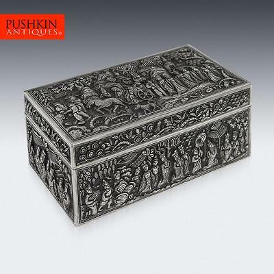 ANTIQUE 19thC CHINESE SOLID SILVER DECORATIVE BOX, XIANG HE c.1860