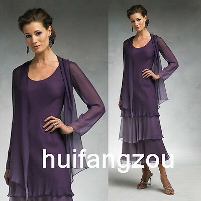 Formal Mother Of the Bride Dresses Gowns Purple Size 4 6 8 10 12 14 16 18 Plus