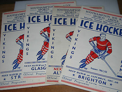1960-63 SOUTHAMPTON ICE HOCKEY Programmes PAISLEY Richmond STREATHAM Murrayfield