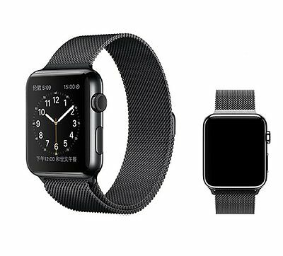 Black Magnetic Milanese Loop Stainless Steel Watch Band Strap for Apple Watch