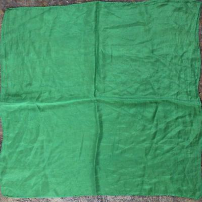 "Boho Chic 1970S Vintage Kelly Green Silk Small 21"" Square Neck Scarf"