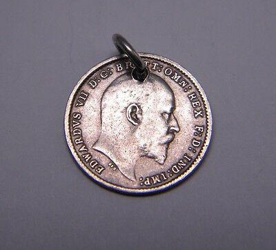 1904 UK 3 Three Pence Sterling Silver Coin Charm Pendant Edward VII