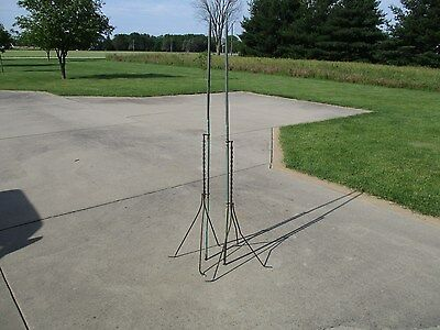 Vintage WOW Patina 2 Barn Weathervane Copper Lightning Rods Twisted Steel Stands