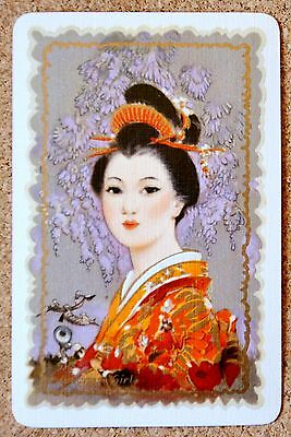 Lady -The Japanese Girl -Barribal- Single Vintage Linen Swap Playing Card