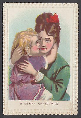 C5223 Small Victorian Xmas Card: Mother & Child 1870s
