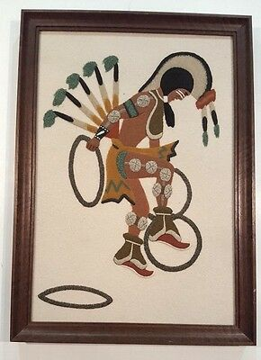 "Vintage Original Navajo Sand Painting ""Hoop Dancer"" by Larry Toledo, New Mexico"