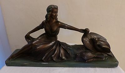 "Large 20"" French Plaster Art Deco Lady Figurine with Doves 1930's Signed Toscana"