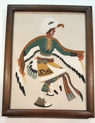 "Vtg Original Navajo Raised Sand Art Painting ""Eagle Dancer"" by  Jerry Ted Toledo"