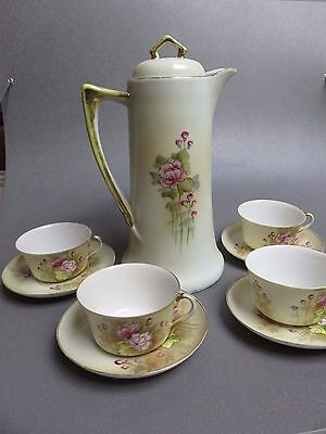 antique  Nippon hand painted coffee chocolate pot with 4 cups and saucers