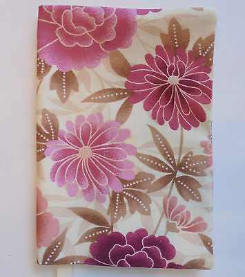 FABRIC Paperback Book Cover Standard Paperback Book Pink Flower Print Fabric NEW