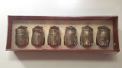 Box Set of 6 Sterling Silver Salt Shakers By Viking - Vintage