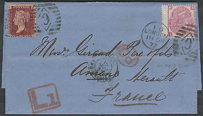1872 SG103 3d ROSE PLATE 8 & SG44 1d RED LATE FEE ON COVER LONDON TO FRANCE