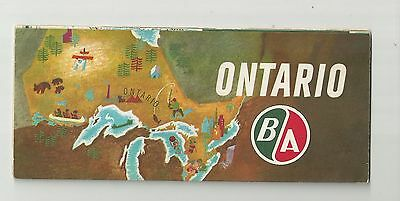 1960's BA ONTARIO ROAD MAP BRITISH AMERICAN OIL TRAVEL SERVICE