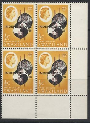 SWAZILAND SG142var 1968 ½c INDEPENDENCE MISSING PEARL ROW 4/10 MTD MINT