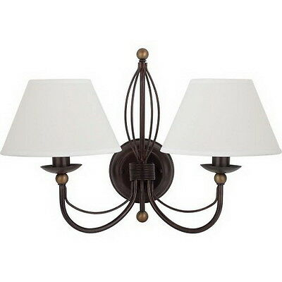 Bronze With Dark Antique Brass Accents 2 Light Wall Sconce With Shades