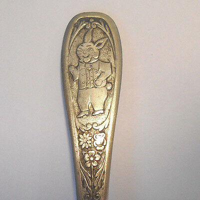 Engraved Peter Rabbit~Baby Fork-vtg Bunny~Diamond Silver Co.~child utensil