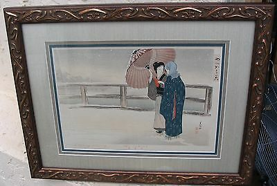 Old Oriental Japanese Woodblock  Print Snowy Evening Girls Signed & Framed