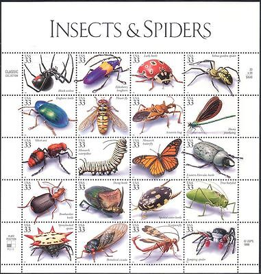 USA 1999 Spiders/Butterflies/Beetles/Dragonflies/Insects/Nature 20v sht (b5901)