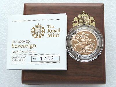 2009 Royal Mint British St George Dragon Gold Proof Full Sovereign Coin Box Coa