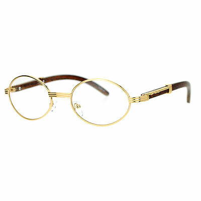 Vintage Wood Buffs Fashion Eyeglasses Oval Frame Clear Lens Glasses UV400