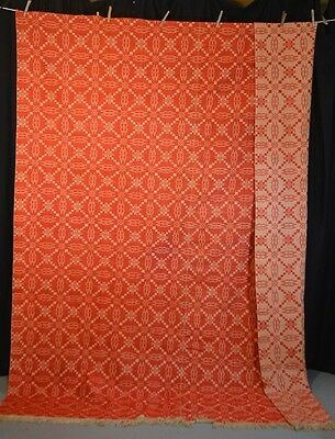 coverlet linen wool RED white 92x72 date  antique original rare
