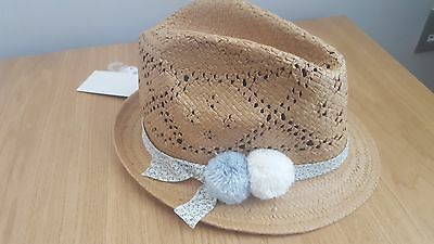 Next Girls Pom Pom Straw Trilby Hat / Summer / Holidays – Age 7-10 Years