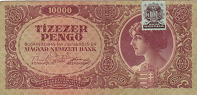 10 000 Pengo From Hungary1945!vf+Banknote!pick-119!!with Stamp!!!!
