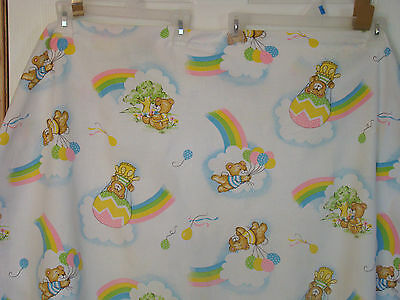 Vintage Baby Crib Sheet~Fitted~ Teddy Bears~Rainbows~Balloons All Over