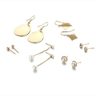 6 pairs gold dangling pearl balls leaf Stud Earrings job lot jewellery E1201