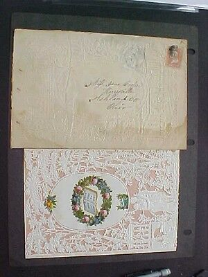 1860s Ornate Paper Lace Stunning Valentine + Cover to Hayesville, Ohio