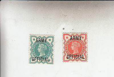Army Officials 896 1/2D Vermillion And 1/2Dblue-Green Mint