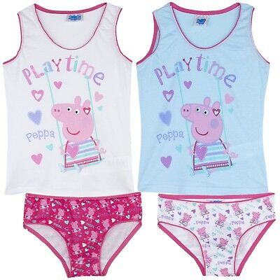 Peppa Pig Character Girls Underwear Sets 4 Pcs Briefs Knickers and Vest 2-8 Yrs