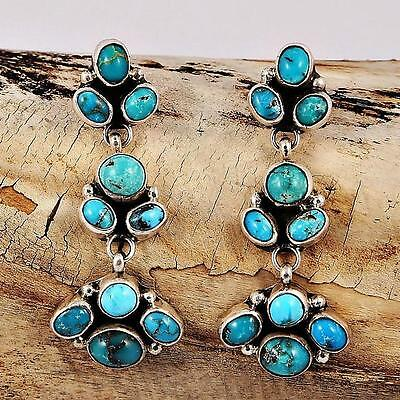 Navajo V&C Hale Turquoise Cluster Earrings Sterling Silver Native American