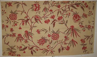 Vintage Charming Early 20th C. French Exotic Floral Print Fabric (8456)