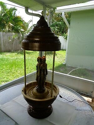 "Antique 3 Sided Lady Mineral Oil Brass  Rain Lamp (34 by 13 by 13"")"