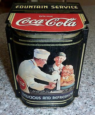 "Coca Cola ""Fountain Service"" Metal Tin, 5.5"" tall, ""Ice Cold"""