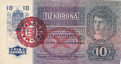 10 Krone 1915/20 Very Fine++ Banknote With A Stamp From Hungary!pick-20